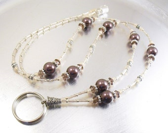 Beaded ID Lanyard, Badge Holder - Burgundy Swarovski Crystal Pearl and Champagne Crystal Glass