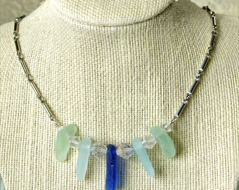 Sea Glass Necklace in Shades of the Sea