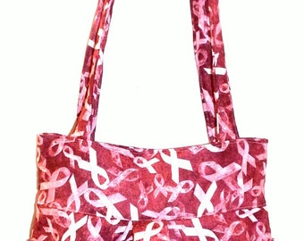 Burgundy Red Pink Ribbons - Bag, Purse, Shoulder Bag, Hobo, Outside Pockets