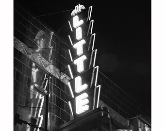 Black and White Photography, Art Deco Theater Sign Photography, Modern Urban Home Decor, Rochester Little Theater, Gray Minimalist Minimal