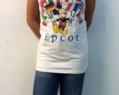 The Vintage Mickey Mouse International Disneyland White Tank