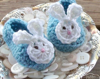 Bunny Baby Shoes - Easter Baby Boy - Easter Bunny - Baby Bunny Shoes -  Aqua Blue - Baby Bunny Ears - Crochet Baby Booties