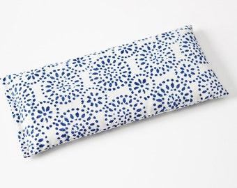 Lavender Eye Pillow, Indigo Blue & Cream Flax Pillow, Cotton Anniversary