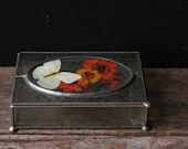 Vintage Glass Box With Butterfly and Dried Flowers Great Hostess Gift From Nowvintage on Etsy