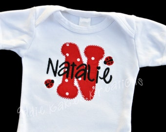 Personalized Applique Initial Baby Bodysuit with Ladybugs / Newborn - 24 Months
