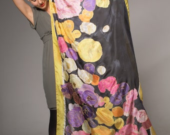 Wearable Art/ Floral Silk scarf/ Silk shawl-Falling Ranunculus/ Luxury Scarves/ Designer scarf/ Bright summer scarf Mother's Day gift OOAK