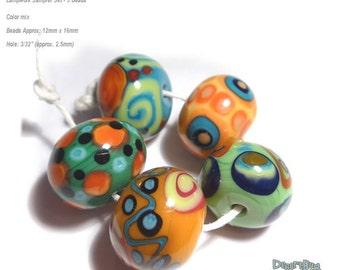 COLOR BOBS Lampwork Bead Set Handmade Natural Color Mix in Bold Design