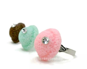 Ice Cream Ring Kawaii Pastel Jewelry Ice Cream Scoop Ring Chocolate Mint Bling Statement Ring - Choose Color