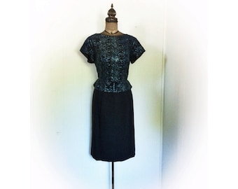 Vintage 1960s Cocktail Peplum Dress Black and with Blue Tinsel