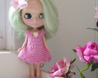 Pink Crochet Dress for Blythe....Hair Bow Included