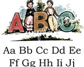 EXCLUSIVELY OURS - Vintage Reproduction Flat Card with children's ABC's. Display, mail as a postcard, or give as a teacher gift