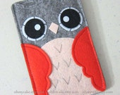 "iPhone sleeve, felt iPhone sleeve, iPhone case, felt iPhone case, iPhone bag, iPhone 5c sleeve, iPhone 5c case, ""grey & orange owl design"""