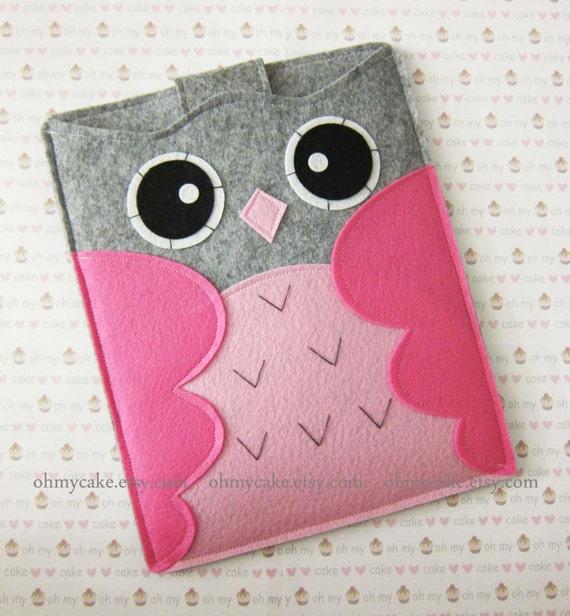 "iPad Sleeve, iPad Case, Felt iPad sleeve, Felt iPad case, iPad felt sleeve, iPad cover, iPad Air sleeve, iPad Air case, ""grey & pink owl"""