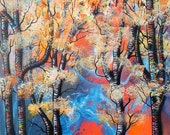 Abstract Aspens XVII - Print of Surreal Landscape Art by Mizu
