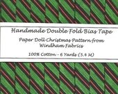 6 Yards Handmade Double Fold Bias Tape - Green, Red and Black Stripe