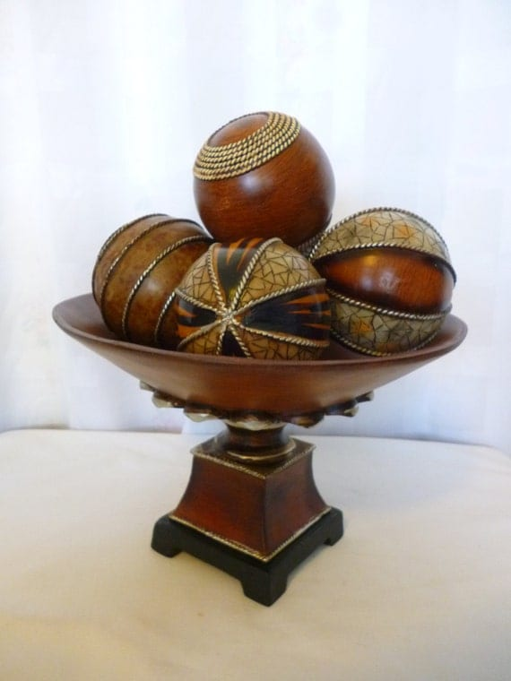 Large wooden centerpiece pedestal bowl with balls