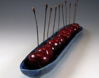 Pottery Olive Bowl - Handmade Ceramic Long Olive Dish - Cherries - Tomatoes - Blueberry Blue - 681