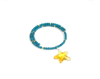 Starry Night Necklace Yellow Necklace Blue Wrap Necklace Star Necklace Art Deco Romantic Post-Impressionism Van Gogh Inspired by Mei Faith