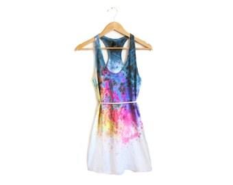 "The Original ""Splash Dyed"" Hand PAINTED Scoop Neck Racerback Tunic Tee Dress in White Spectrum Rainbow - Women's XS S M L"