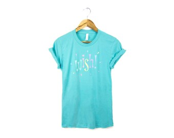 SAMPLE SALE - Wish - Hand Stenciled Rolled Cuffs Crew Neck Boyfriend Fit Tee in Teal and Pastel Rainbow Colors - Women's M Q