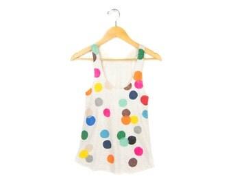 Colorful Confetti Women's Racerback Hand Stenciled Slouchy Scoop Neck Swing Tank Top in Cream Multi Rainbow - S M L XL