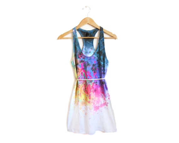 "The Original ""Splash Dyed"" Hand PAINTED Scoop Neck Racerback Tunic Tee Dress in White Spectrum Rainbow - Women's XS S M L"
