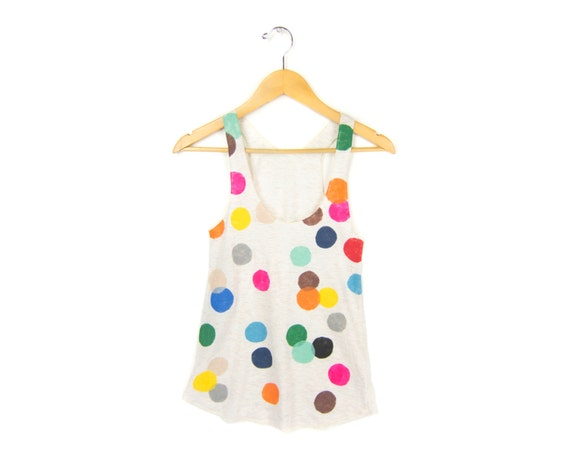 Colorful Confetti Women's Racerback Hand Stenciled Slouchy Scoop Neck Swing Tank Top in Cream Multi Rainbow - S M L XL