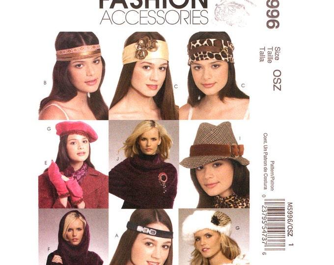 Womens Accessory Pattern McCalls 5996 Fedora Hat Headband Cowl Mittens Collar Pins