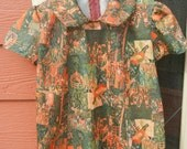 Vintage girls tent dress renaissance fairy tale patterned fabric