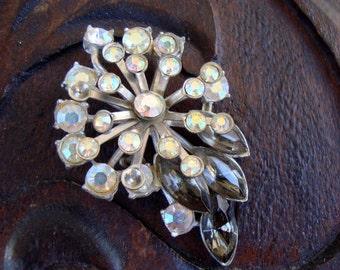 Vintage AB & Smoky Rhinestones Navettes Leaf Flower Brooch As-Is Charming