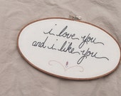 i love you and i like you, embroidered wall hanging