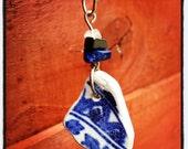 Irish Sea Pottery Pendant - Vibrant Blue and White with Lapis, Hematite and Quartz