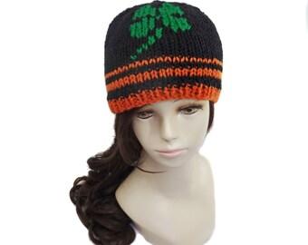 Shamrock Hat - Knit Beanie - St Patty's Day Hat - Lucky Hat