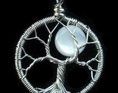Tiny Moon Tree of Life Pendant - Recycled Sterling Silver and Mother of Pearl Pendant - Original Design by Ethora