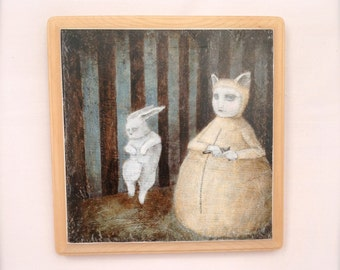 Kaninchen (print mounted on wood)
