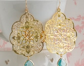 GOLD Lace & Aqua Blue Filigree Earrings Bohemian Wedding Something Blue Summer Wedding