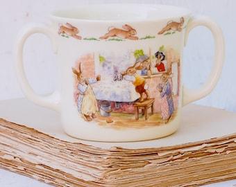 Royal Doulton Bunnikins Cup Vintage Hug A Mug  Bone China 1988 Washing Up Nursery Decor New Baby Gift Toddler Baby