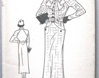 1930s Pictorial Review 6868 Printed Dress Pattern  Bust 38  Hip 41