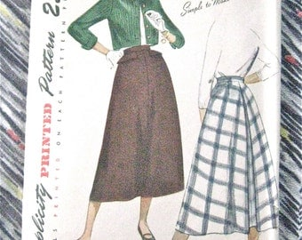 Bolero and Skirt Vintage 1940s Simplicity 2711 Vintage Sewing 40s Skirt Pattern  Bust 32