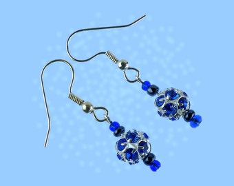 Blue and silver sparkly rhinestone earrings