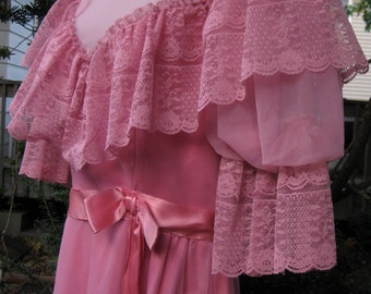 Belle Gown dress, size 10 Dusty rose pink maxi 80s0 1980s formal dress, southern belle gown, 80s prom gown, 80s prom dress
