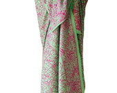 Beach Sarong Womens Clothing - Batik Sarong Pareo Wrap Skirt - Swimsuit Coverup ~ Sage Green and Pink Sarong Batik Pareo Beach Wrap Skirt