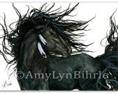 Majestic Horse Black Friesian Stallion Native American Feathers - Original Painting by BiHrLe mm115