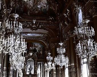 Paris Chandelier Prints, Paris Photography, Paris Black and White Photography, Paris Opera Chandelier Art Prints, Paris Opera Chandelier Art