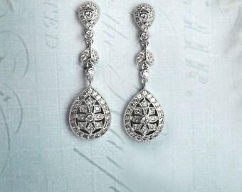 Bridal Art Deco earrings, Drop earrings, Vintage deco Earrings, Wedding Crystal earrings, Chandelier earrings, 1920s earrings - 'DECO DROP'