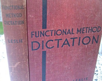 Vintage dictation book, 1936, Gregg Publishing Co., office reference, Mad Men prop, geeky inscribed book, mixed media suppy, altered art