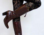 Vintage Frye Boots - Gorgeous Boho Burgundy Calf Boots - Vintage Mahogany Tall Boots for the Bohemian Babe