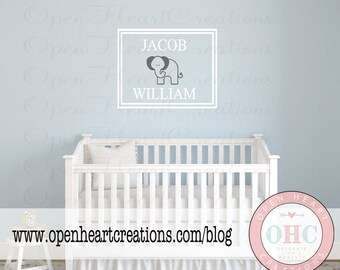 Elephant Vinyl Wall Decal with Custom Name - Monogram Baby Boy Decal with Name Elephant and Double Rectangle Frame Border 22H x 30W FN0579