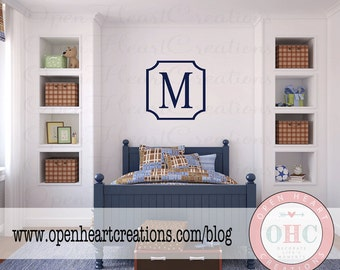Modern Single Initial Monogram Wall Decal with Frame Border - Personalized Vinyl Decal for Nursery Teen or Family Name 22 x 22 FN0582