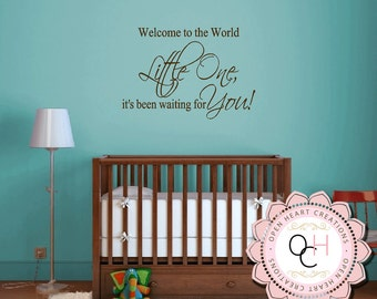 Baby Nursery Saying Wall Decal - Welcome to the World Little One Vinyl Lettering - Nursery Poem Quote Vinyl Lettering 22h X 32W BA0422